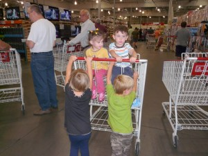 Twins in a Costco cart